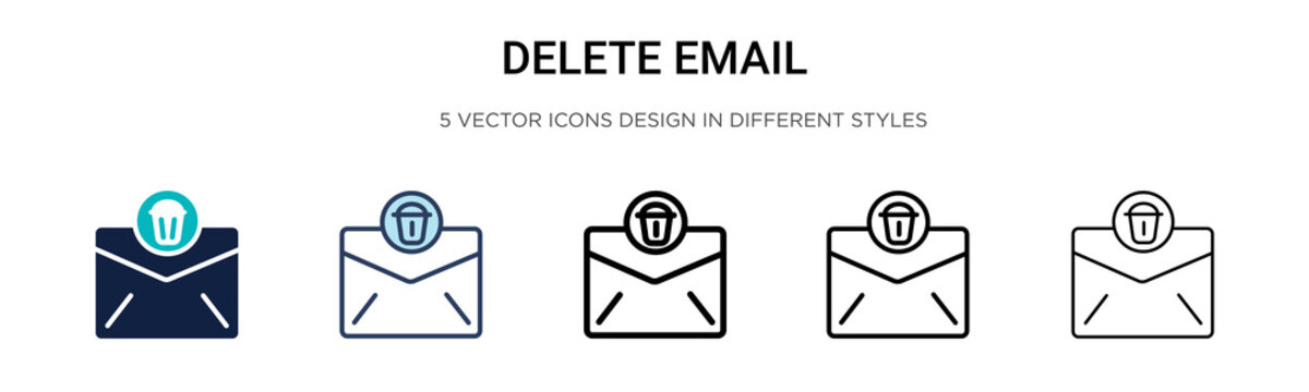 Delete email icon in filled, thin line, outline and stroke style. Vector illustration of two colored and black delete email vector icons designs can be used for mobile, ui, web