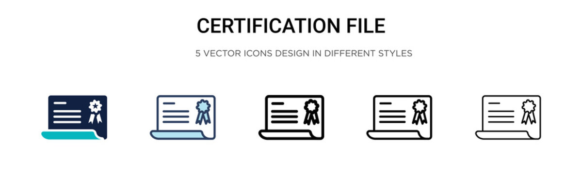 Certification file icon in filled, thin line, outline and stroke style. Vector illustration of two colored and black certification file vector icons designs can be used for mobile, ui, web