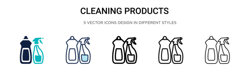 Cleaning products icon in filled, thin line, outline and stroke style. Vector illustration of two colored and black cleaning products vector icons designs can be used for mobile, ui, web