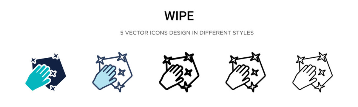 Wipe icon in filled, thin line, outline and stroke style. Vector illustration of two colored and black wipe vector icons designs can be used for mobile, ui, web