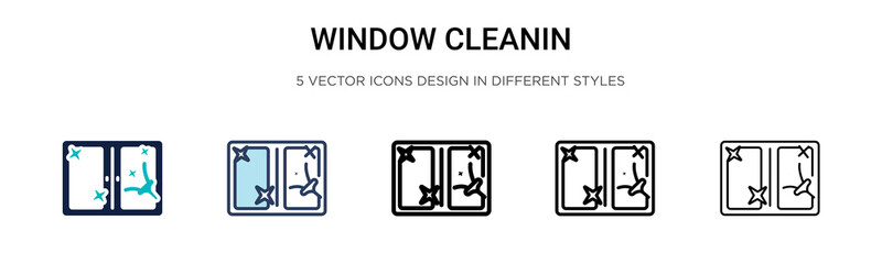Window cleanin icon in filled, thin line, outline and stroke style. Vector illustration of two colored and black window cleanin vector icons designs can be used for mobile, ui, web Wall mural