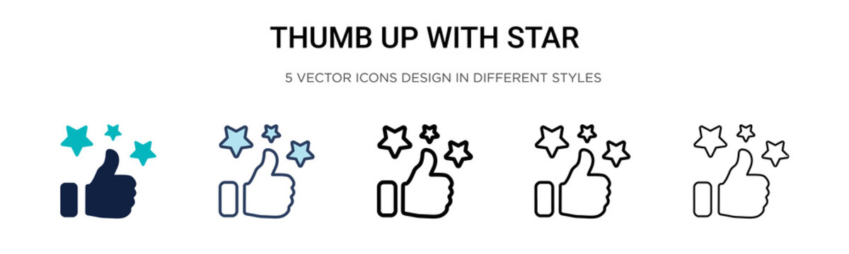 Thumb up with star icon in filled, thin line, outline and stroke style. Vector illustration of two colored and black thumb up with star vector icons designs can be used for mobile, ui, web