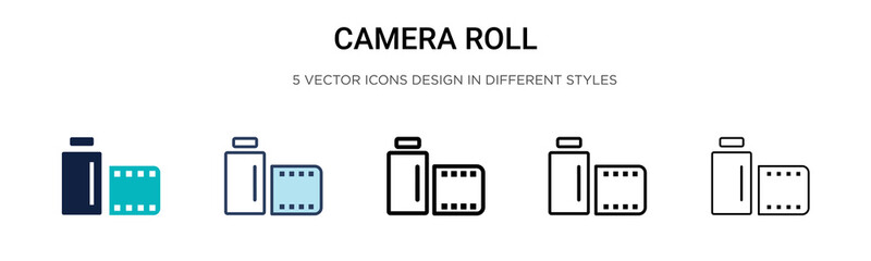 Camera roll icon in filled, thin line, outline and stroke style. Vector illustration of two colored and black camera roll vector icons designs can be used for mobile, ui, web Wall mural
