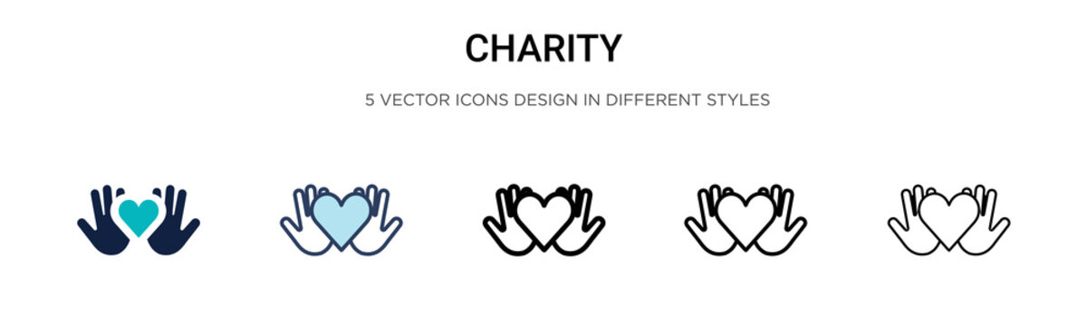 Charity icon in filled, thin line, outline and stroke style. Vector illustration of two colored and black charity vector icons designs can be used for mobile, ui, web