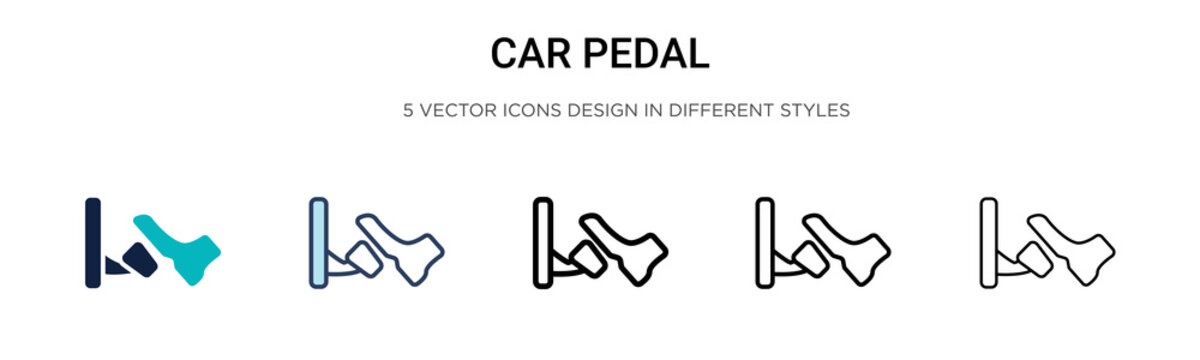 Car pedal icon in filled, thin line, outline and stroke style. Vector illustration of two colored and black car pedal vector icons designs can be used for mobile, ui, web