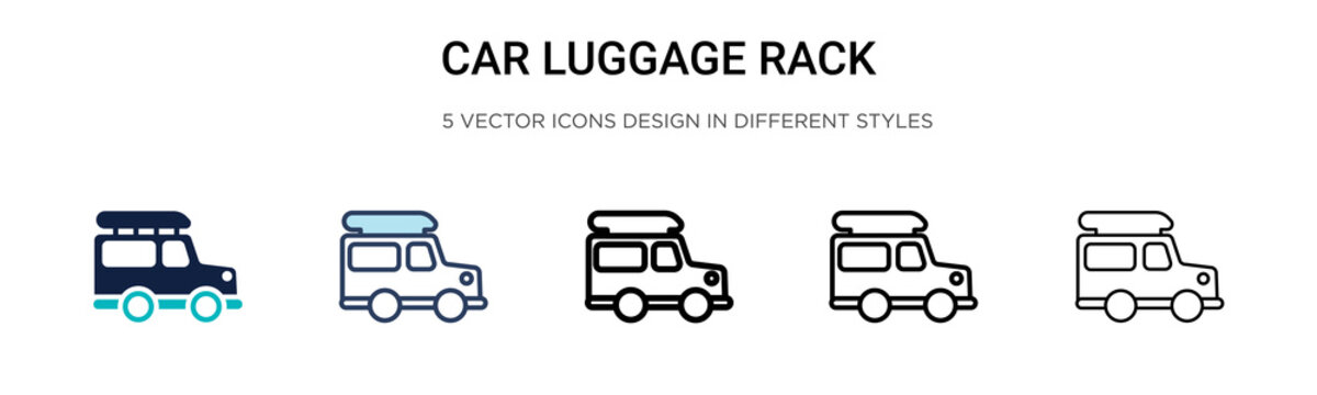 Car luggage rack icon in filled, thin line, outline and stroke style. Vector illustration of two colored and black car luggage rack vector icons designs can be used for mobile, ui, web