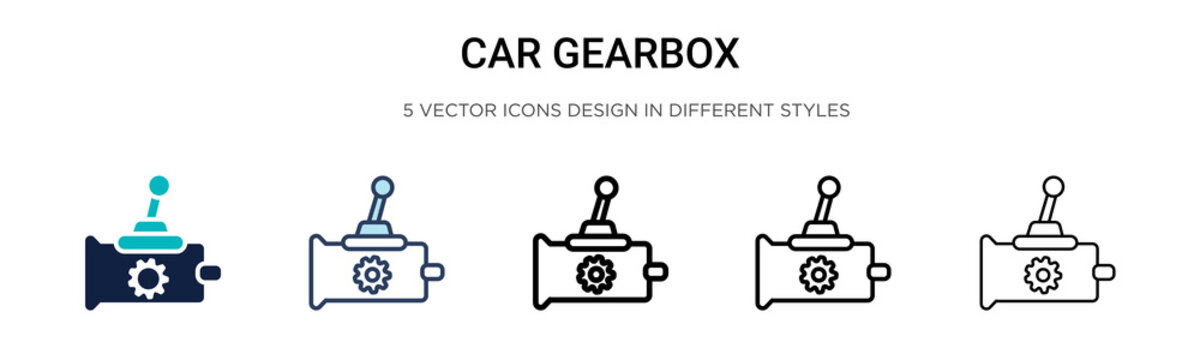 Car gearbox icon in filled, thin line, outline and stroke style. Vector illustration of two colored and black car gearbox vector icons designs can be used for mobile, ui, web