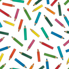 Seamless pattern of assorted colored pencils