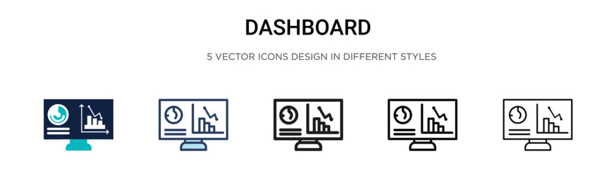 Dashboard icon in filled, thin line, outline and stroke style. Vector illustration of two colored and black dashboard vector icons designs can be used for mobile, ui, web