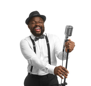 Male African-American singer on white background