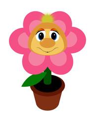 Funny fluffy pink flower illustration