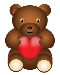 Dark brown teddy bear with red heart illustration