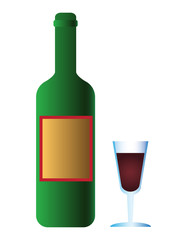 Bottle of wine with wineglass isolated illustration