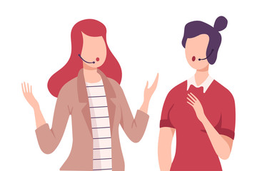 Journalist in Headset Interviewing Businesswoman at Press Conference, Live Report Flat Vector Illustration