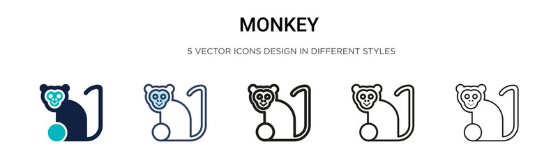 Monkey icon in filled, thin line, outline and stroke style. Vector illustration of two colored and black monkey vector icons designs can be used for mobile, ui, web