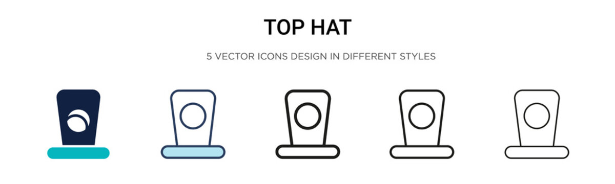 Top hat icon in filled, thin line, outline and stroke style. Vector illustration of two colored and black top hat vector icons designs can be used for mobile, ui, web