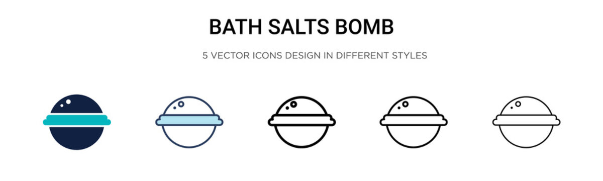 Bath salts bomb icon in filled, thin line, outline and stroke style. Vector illustration of two colored and black bath salts bomb vector icons designs can be used for mobile, ui, web