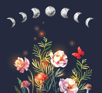 Watercolor moon phases  and flowers on dark background. Hand painted watercolor beautiful illustration.
