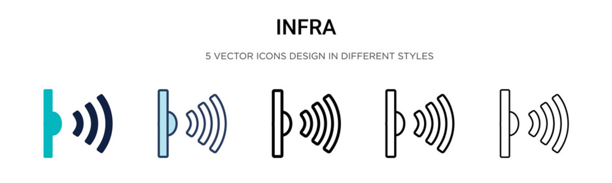 Infrared icon in filled, thin line, outline and stroke style. Vector illustration of two colored and black infrared vector icons designs can be used for mobile, ui, web