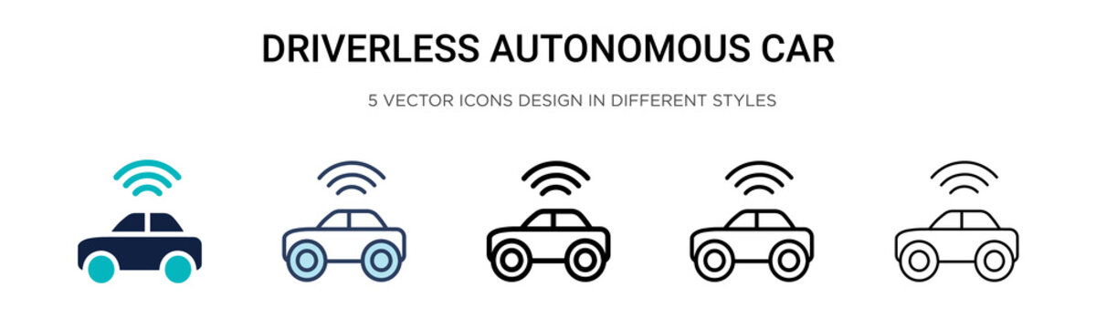 Driverless autonomous car icon in filled, thin line, outline and stroke style. Vector illustration of two colored and black driverless autonomous car vector icons designs