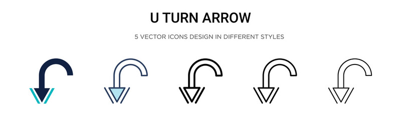 U turn arrow icon in filled, thin line, outline and stroke style. Vector illustration of two colored and black u turn arrow vector icons designs can be used for mobile, ui, web Wall mural