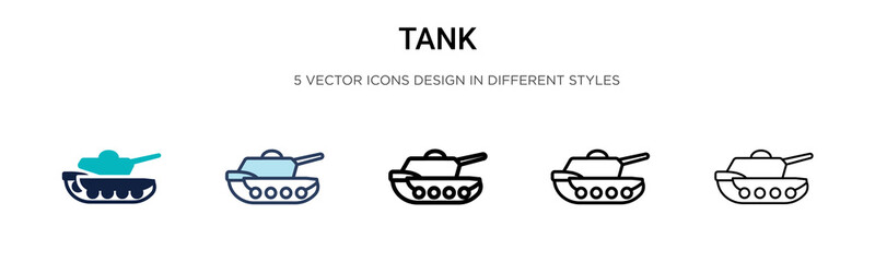 Tank icon in filled, thin line, outline and stroke style. Vector illustration of two colored and black tank vector icons designs can be used for mobile, ui, web Wall mural