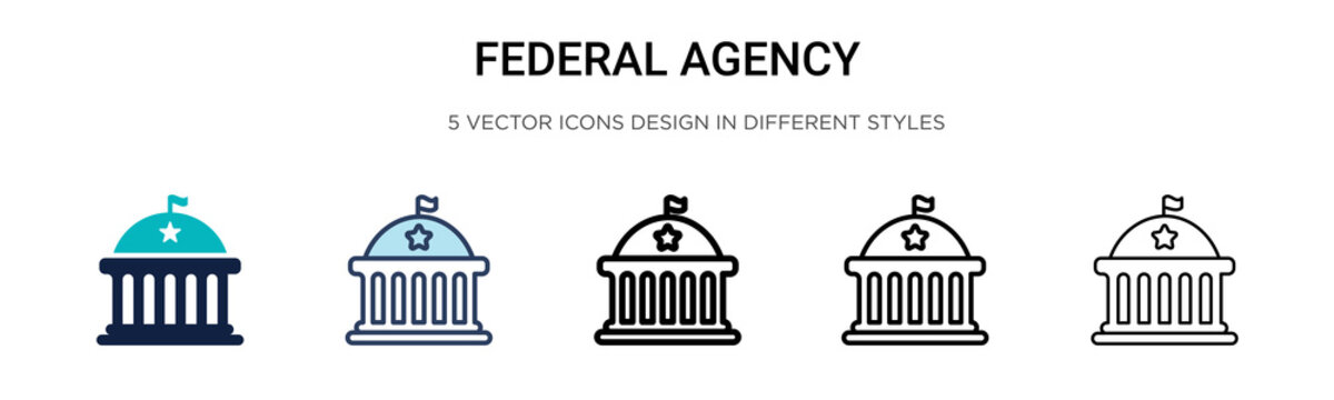 Federal agency icon in filled, thin line, outline and stroke style. Vector illustration of two colored and black federal agency vector icons designs can be used for mobile, ui, web