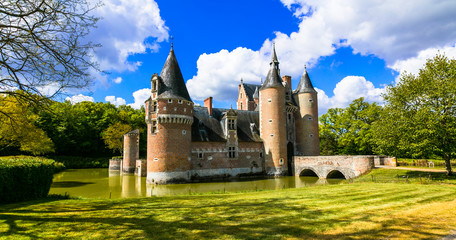 Romantic medieval castles of Loire valley. France. Chateau du Moulin