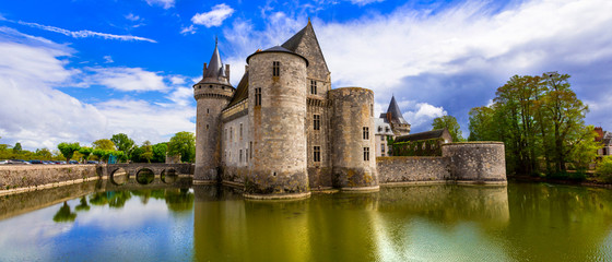 Travel and landmarks of France. medieval castle - Sully-sur-Loire, famous Loire valley