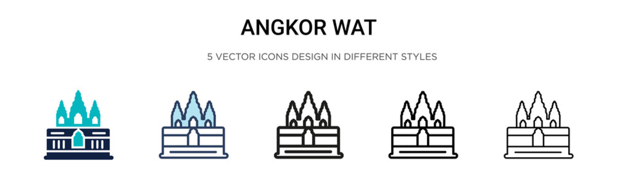 Angkor wat icon in filled, thin line, outline and stroke style. Vector illustration of two colored and black angkor wat vector icons designs can be used for mobile, ui, web