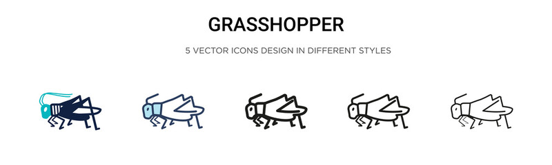 Grasshopper icon in filled, thin line, outline and stroke style. Vector illustration of two colored and black grasshopper vector icons designs can be used for mobile, ui, web Wall mural