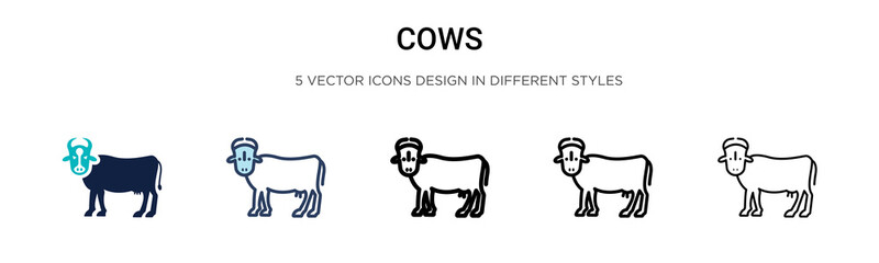 Cows icon in filled, thin line, outline and stroke style. Vector illustration of two colored and black cows vector icons designs can be used for mobile, ui, web