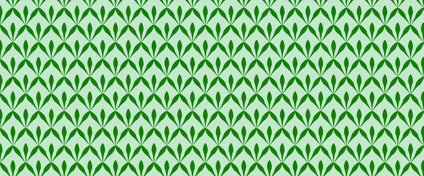On a gray background geometric green pattern. Green leaves. Banner.