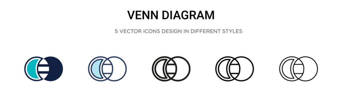Venn diagram icon in filled, thin line, outline and stroke style. Vector illustration of two colored and black venn diagram vector icons designs can be used for mobile, ui, web