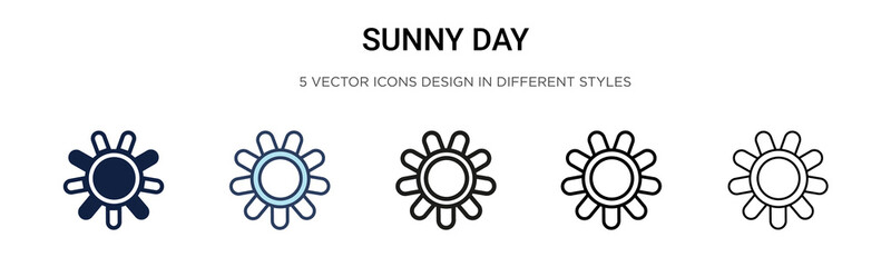 Sunny day icon in filled, thin line, outline and stroke style. Vector illustration of two colored and black sunny day vector icons designs can be used for mobile, ui, web Wall mural