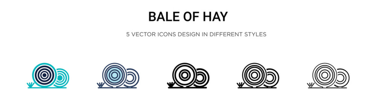 Bale of hay icon in filled, thin line, outline and stroke style. Vector illustration of two colored and black bale of hay vector icons designs can be used for mobile, ui, web
