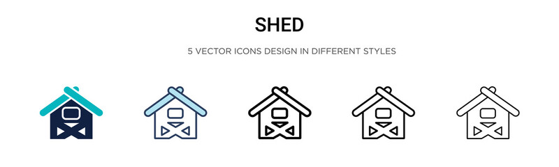 Fototapeta Shed icon in filled, thin line, outline and stroke style. Vector illustration of two colored and black shed vector icons designs can be used for mobile, ui, web obraz