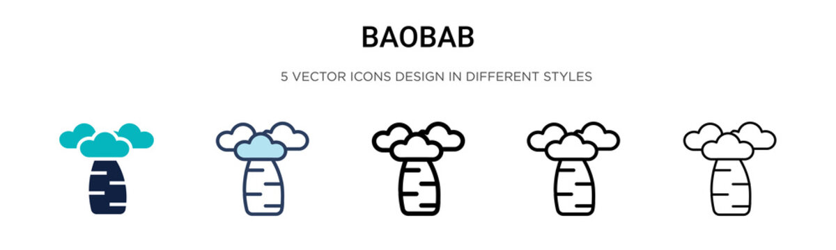 Baobab icon in filled, thin line, outline and stroke style. Vector illustration of two colored and black baobab vector icons designs can be used for mobile, ui, web