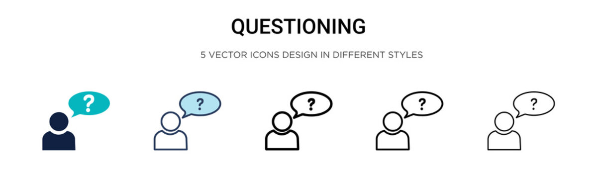 Questioning icon in filled, thin line, outline and stroke style. Vector illustration of two colored and black questioning vector icons designs can be used for mobile, ui, web