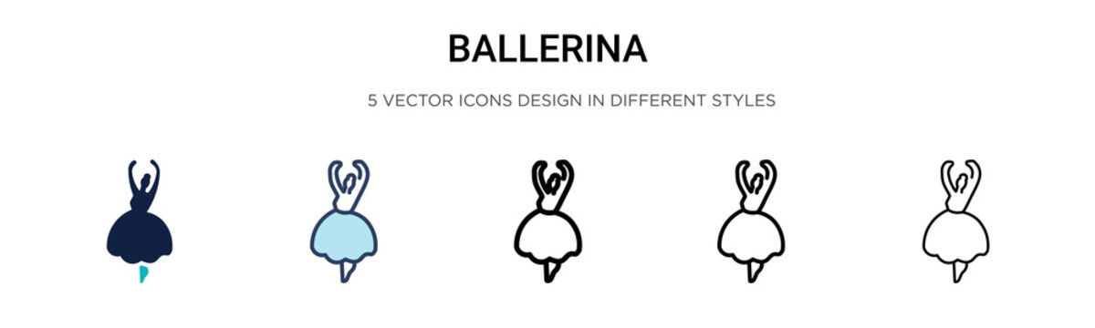 Ballerina icon in filled, thin line, outline and stroke style. Vector illustration of two colored and black ballerina vector icons designs can be used for mobile, ui, web