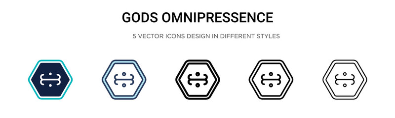 Gods omnipressence icon in filled, thin line, outline and stroke style. Vector illustration of two colored and black gods omnipressence vector icons designs can be used for mobile, ui, web Wall mural