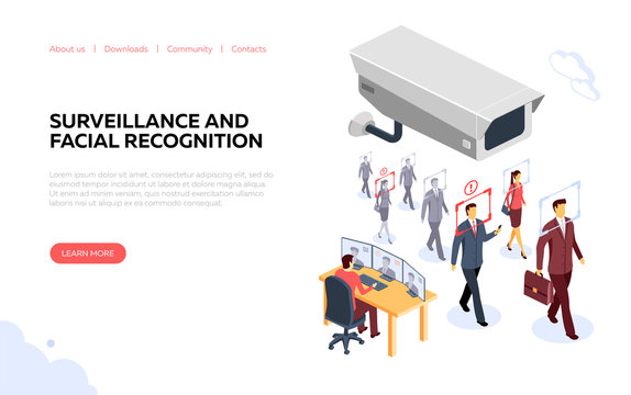 Surveillance and facial recognition banner vector illustration