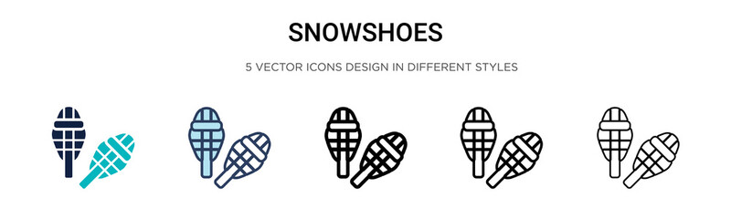 Snowshoes icon in filled, thin line, outline and stroke style. Vector illustration of two colored and black snowshoes vector icons designs can be used for mobile, ui, web Wall mural