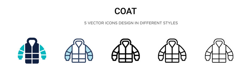 Coat icon in filled, thin line, outline and stroke style. Vector illustration of two colored and black coat vector icons designs can be used for mobile, ui, web Wall mural