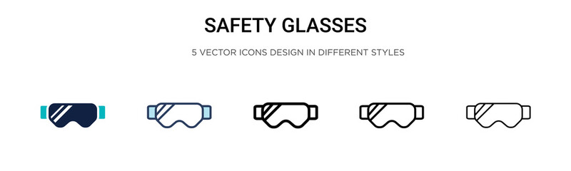 Safety glasses icon in filled, thin line, outline and stroke style. Vector illustration of two colored and black safety glasses vector icons designs can be used for mobile, ui, web