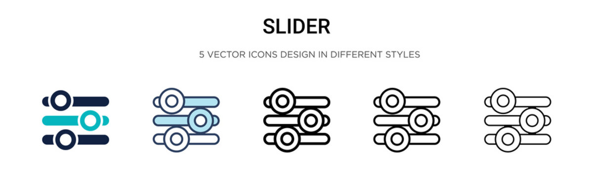 Slider icon in filled, thin line, outline and stroke style. Vector illustration of two colored and black slider vector icons designs can be used for mobile, ui, web
