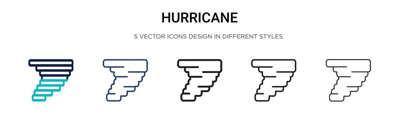 Hurricane icon in filled, thin line, outline and stroke style. Vector illustration of two colored and black hurricane vector icons designs can be used for mobile, ui, web Wall mural