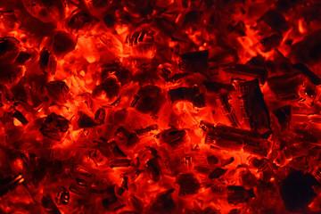 Keuken foto achterwand Brandhout textuur burning coals in the barbecue