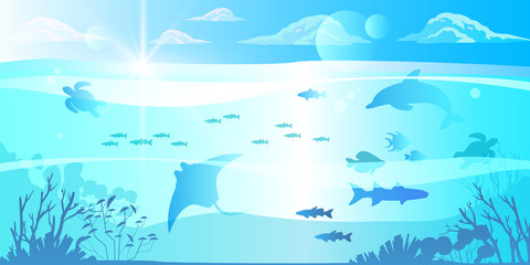 Foto op Plexiglas Dolfijnen Underwater blue background with dolphin, turtle, stingray, fish, coral reefs, plants silhouettes. Tropical ocean eco banner with clouds, pure transparent water, sea animals, sun flares. Diving concept