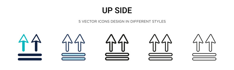 Up side icon in filled, thin line, outline and stroke style. Vector illustration of two colored and black up side vector icons designs can be used for mobile, ui, web Wall mural